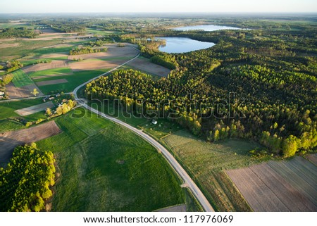 Aerial landscape at spring, Lithuania - stock photo