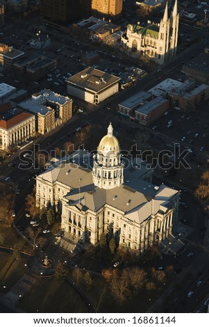 Aerial landscape of Denver, Colorado's State Capitol building, United States. - stock photo