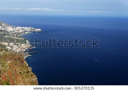 Aerial landscape taken from Cabo Girao, Madeira Island, Portugal, Europe - stock photo
