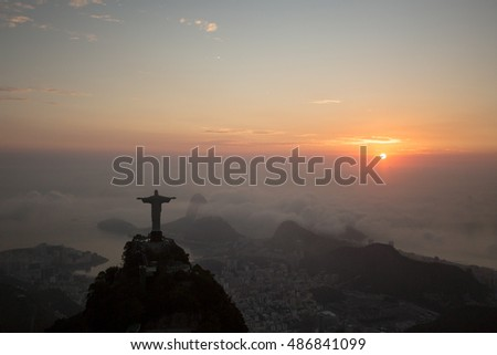 Aerial landscape view from the rio de janeiro city at a cloudy day