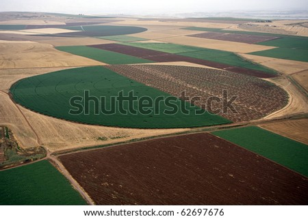 Aerial landscape with rural fields at hot summer - stock photo