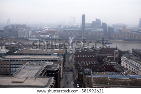 Aerial London view on a foggy day from St Paul's cathedral