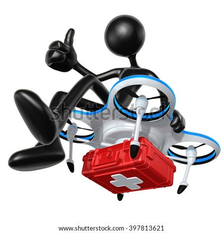 Aerial Medical Relief Drone 3D Illustration Concept  - stock photo