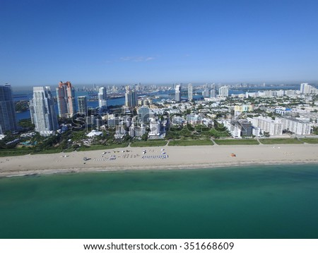 Aerial Miami Beach stock image - stock photo