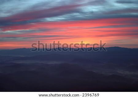 Aerial Mountain Sunrise - stock photo