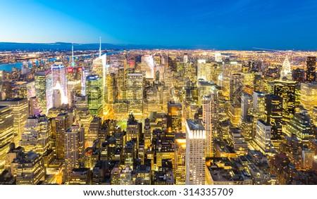Aerial New York City skyline downtown manhattan at dusk - stock photo
