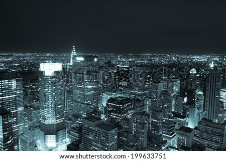 Aerial night view of Manhattan skyline - New York - USA - stock photo