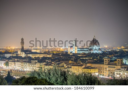 Aerial night view of Piazza del Duomo in Florence.