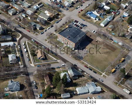 Aerial of a common neighbor in small town USA - stock photo