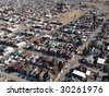 Aerial of a small rural city in beautiful Montana USA. - stock photo