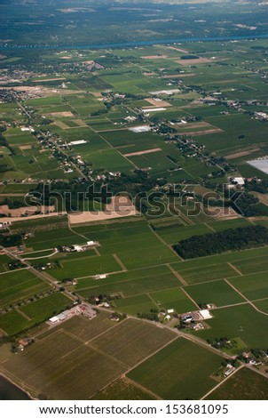 Aerial of agricultural patchwork - stock photo
