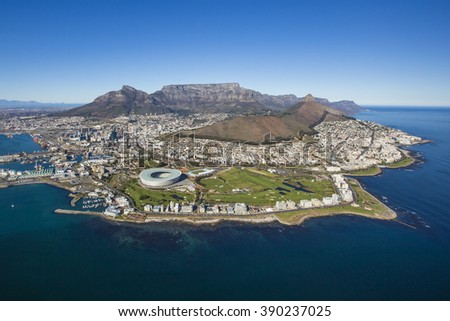 Aerial of Capetown South Africa - stock photo