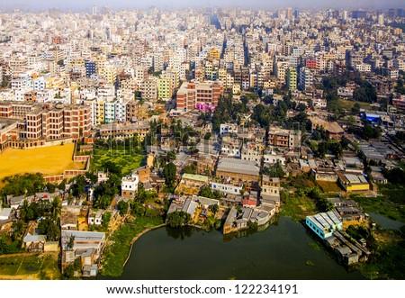 Aerial of Dhaka, the Capital of Bangladesh - stock photo