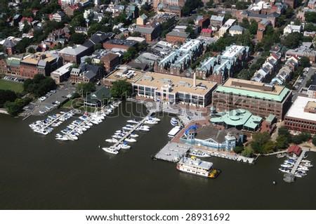 Aerial of downtown Alexandria, Virginia, on the Potomac River, near Washington DC - stock photo