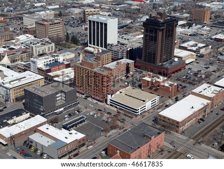 Aerial of Downtown Billings Montana in the midwestern United States. - stock photo