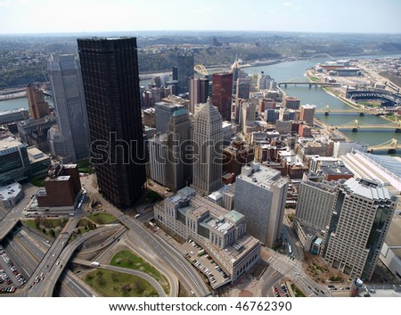 Aerial of downtown Pittsburgh Pennsylvania on a sunny day. - stock photo
