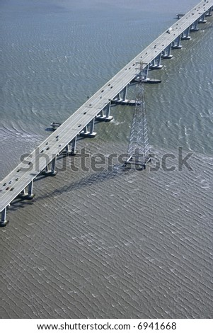 Aerial of Dumbarton Bridge over the San Francisco Bay in Newark, California, USA. - stock photo