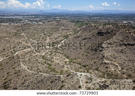Aerial of hiking trails at South Mountain