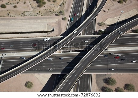 Aerial of Interchange - stock photo