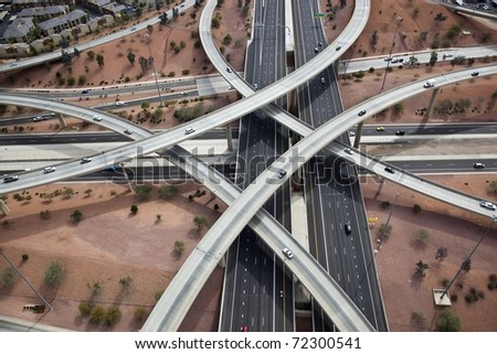 Aerial of Loop 101 and I-17 Interchange - stock photo