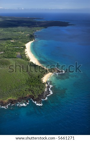 Aerial of Maui, Hawaii beach and Pacific ocean. - stock photo