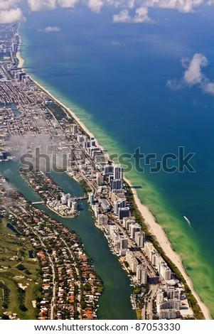 aerial of Miami beach - stock photo