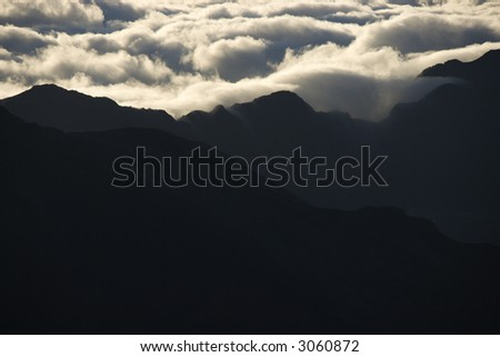 Aerial of mountain range in Haleakala National Park, Maui, Hawaii.