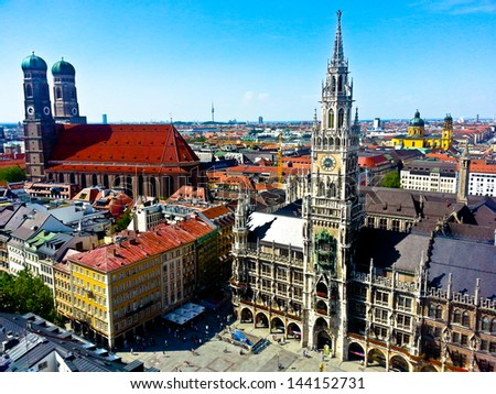Aerial of Munich city, Germany - stock photo
