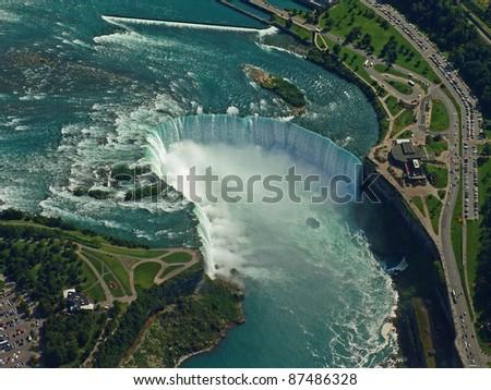 Aerial of Niagara Falls. - stock photo