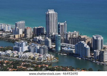 Aerial of North Beach - stock photo
