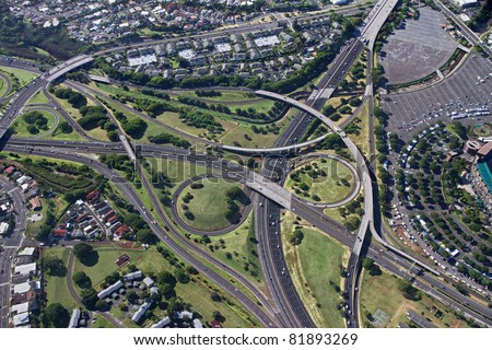 Aerial of Oahu Freeway Interchange - Hawaii - stock photo