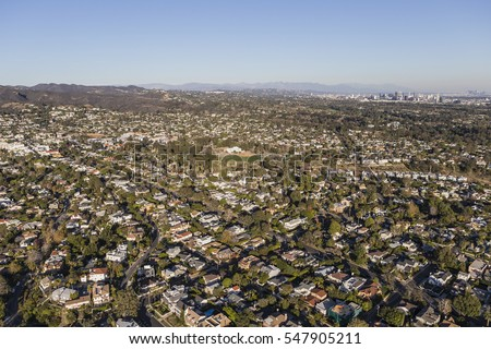 Aerial of Pacific Palisades and West Los Angeles neighborhoods in Southern California.