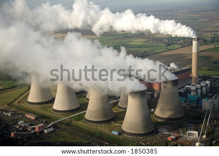 Aerial of power station - stock photo