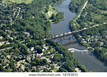 aerial of railroad bridge, Paris Ontario - stock photo