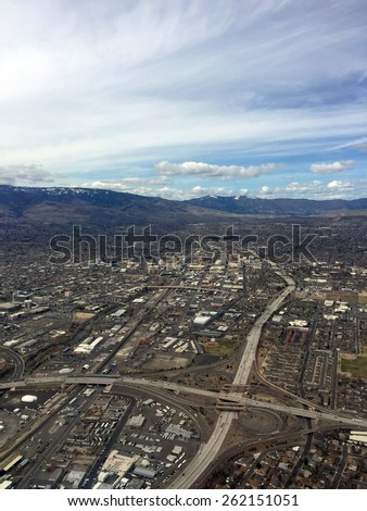 Aerial of Reno Nevada Downtown - stock photo