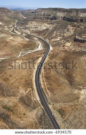 Aerial of scenic highway Interstate 15 through desert landscape of Arizona, USA. - stock photo