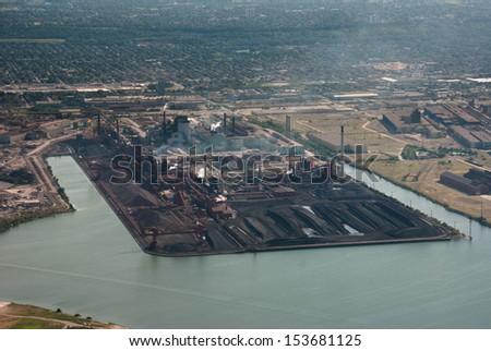 Aerial of steel refinement industry - stock photo