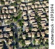 Aerial of suburban neighborhood on outskirts of Phoenix, Arizona. - stock photo