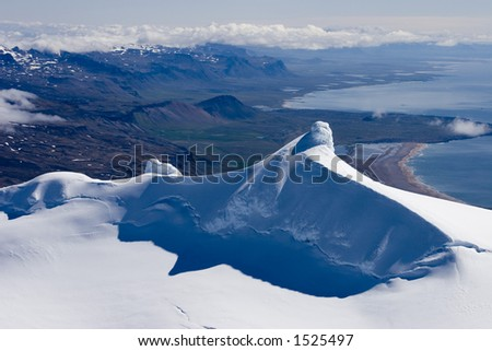 Aerial of the summit of mountain/glacier at Snaefellsnes in Iceland.