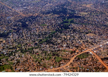 Aerial of the vast slums of Juba, the capital of South Sudan. Can be used to symbolize a poor residential urban neighborhood anywhere in Africa - stock photo