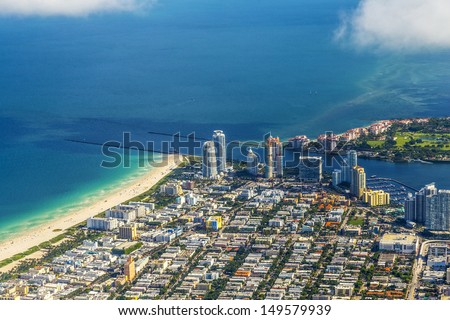 aerial of town and beach of Miami Beach - stock photo