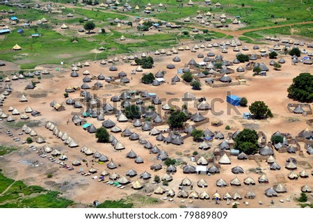 Aerial of traditional African housing, in South Sudan - stock photo