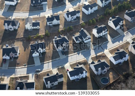 Aerial of typical modern suburban housing track in the eastern United States. - stock photo