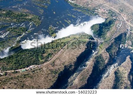 Aerial of Victoria Falls - stock photo