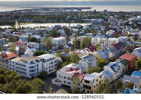aerial overview of Reykjavik roofs - stock photo