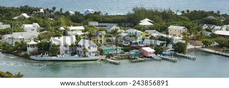 aerial panorama of colorful waterfront homes, hopetown, bahamas - stock photo