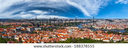 Aerial panorama of Hradchany: the Saint Vitus (St. Vitt's) Cathedral and Prague Castle. Prague, Czech Republic - stock photo