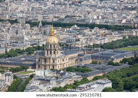 Aerial panorama of Paris from Montparnasse tower with view at Dome des Invalides