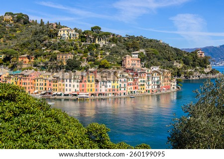 Aerial panorama of Portofino, Italy - stock photo