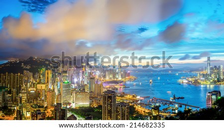 Aerial Panorama shot of Hong Kong cityscape Skyline from braemar hill at dusk - stock photo